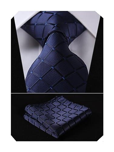 HISDERN Check Wedding Tie Handkerchief Men's Necktie & Pocket Square Set