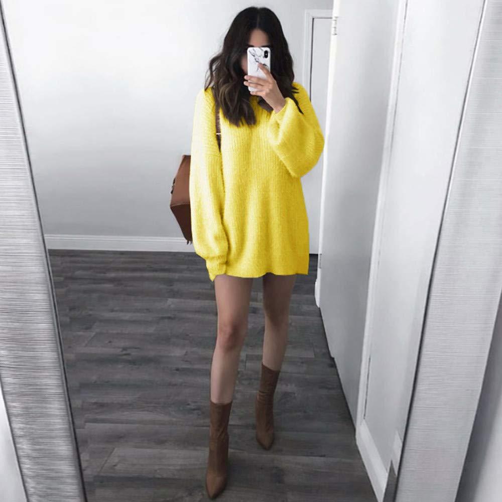 JYC-Suéter para Mujer, Mujeres de Manga Larga de Punto Jersey, Moda Mujer Sólido O-Cuello Suelto De puntoCalentar Largo Linterna Manga Suéter Blusa: ...