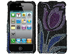Purple Silver Blue Flower Bling Rhinestone Crystal Case Cover for Apple iPhone 4 4S AT&T Verizon and Sprint