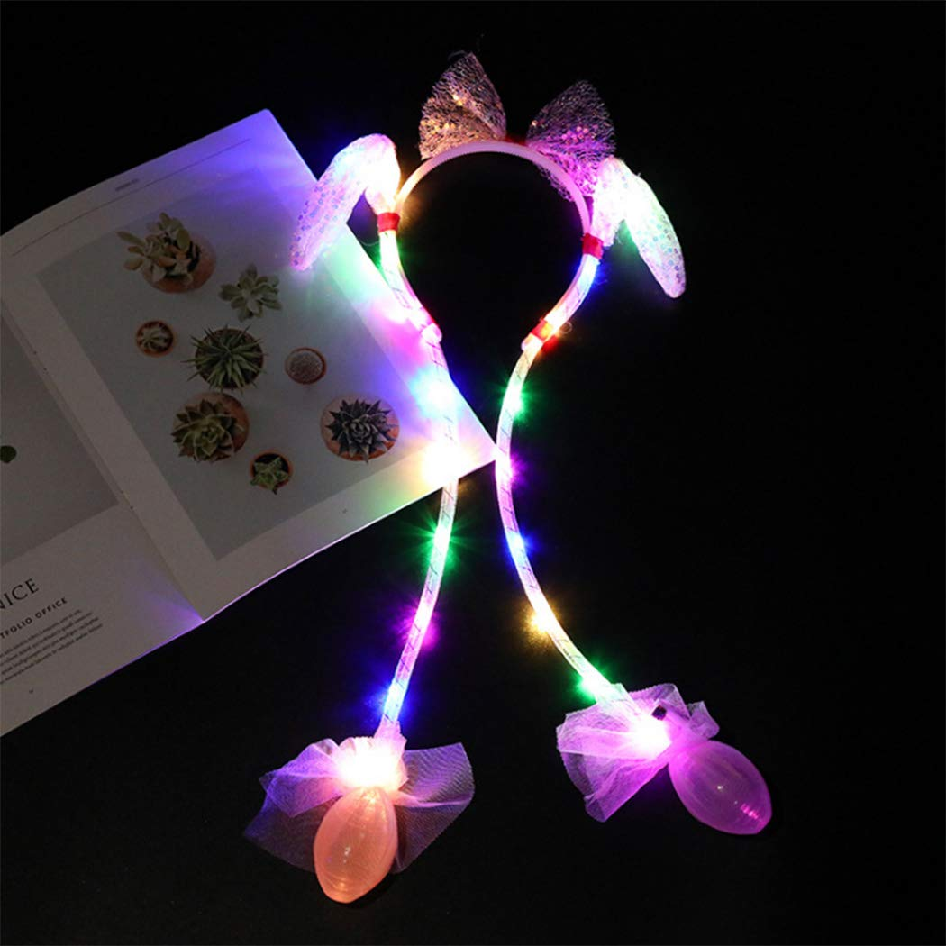 Rose red Gortin LED Glowing Plush Moving Rabbit Headbands Dancing Bunny Ears Hat Pinching Ear to Move Vertically Led Toys Halloween Party Head Accessory for Women and Girls1 Pcs