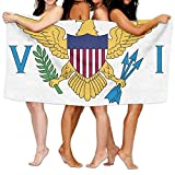 "Beach Towel Flag Of The United States Virgin Islands 80"" X 130"" Soft Lightweight Absorbent For Bath Swimming Pool Yoga Pilates Picnic Blanket Towels"