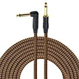 1/4 Inch Guitar Cable 10 Ft 6.35mm Right Angle To Straight Gold Plugs, Electric Instrument Bass Keyboard Cable Amp Cord 1/4 Inch Electric Mandolin cable - Braided Cloth Jacket By Gedkoa