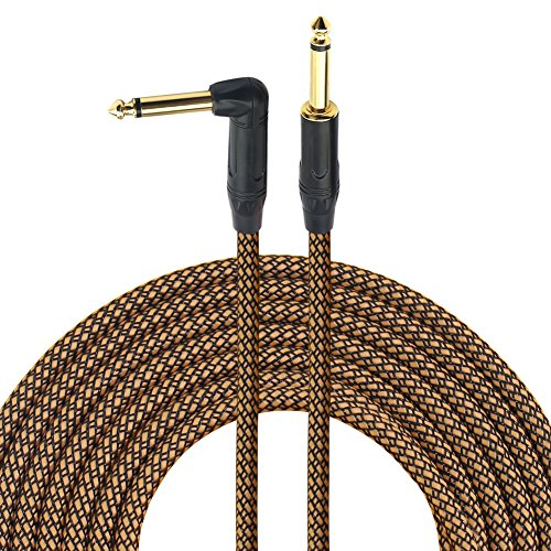 1/4 Inch Guitar Cable 10 Ft 6.35mm Right Angle To Straight Gold Plugs, Electric Instrument Bass Keyboard Cable Amp Cord 1/4 Inch Electric Mandolin cable - Braided Cloth Jacket By ()