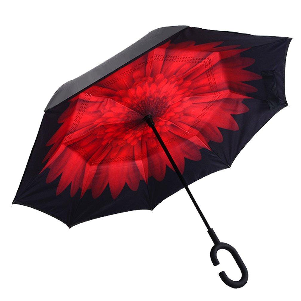 dolirox® Envers coupe-vent parapluie pliant Symétrie inversée Motif double couche et à debout à l'intérieur et à l'extérieur Protection Pluie Parapluie avec poignée en forme les mains libres, id&e