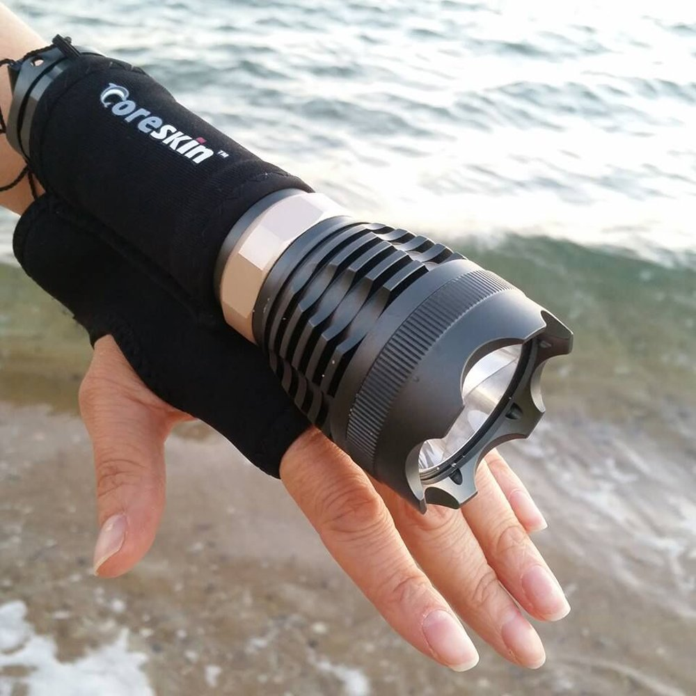 Ano Neoprene Diving LED Flashlight Soft Hand Gloves with Velcro Adjustable Belt