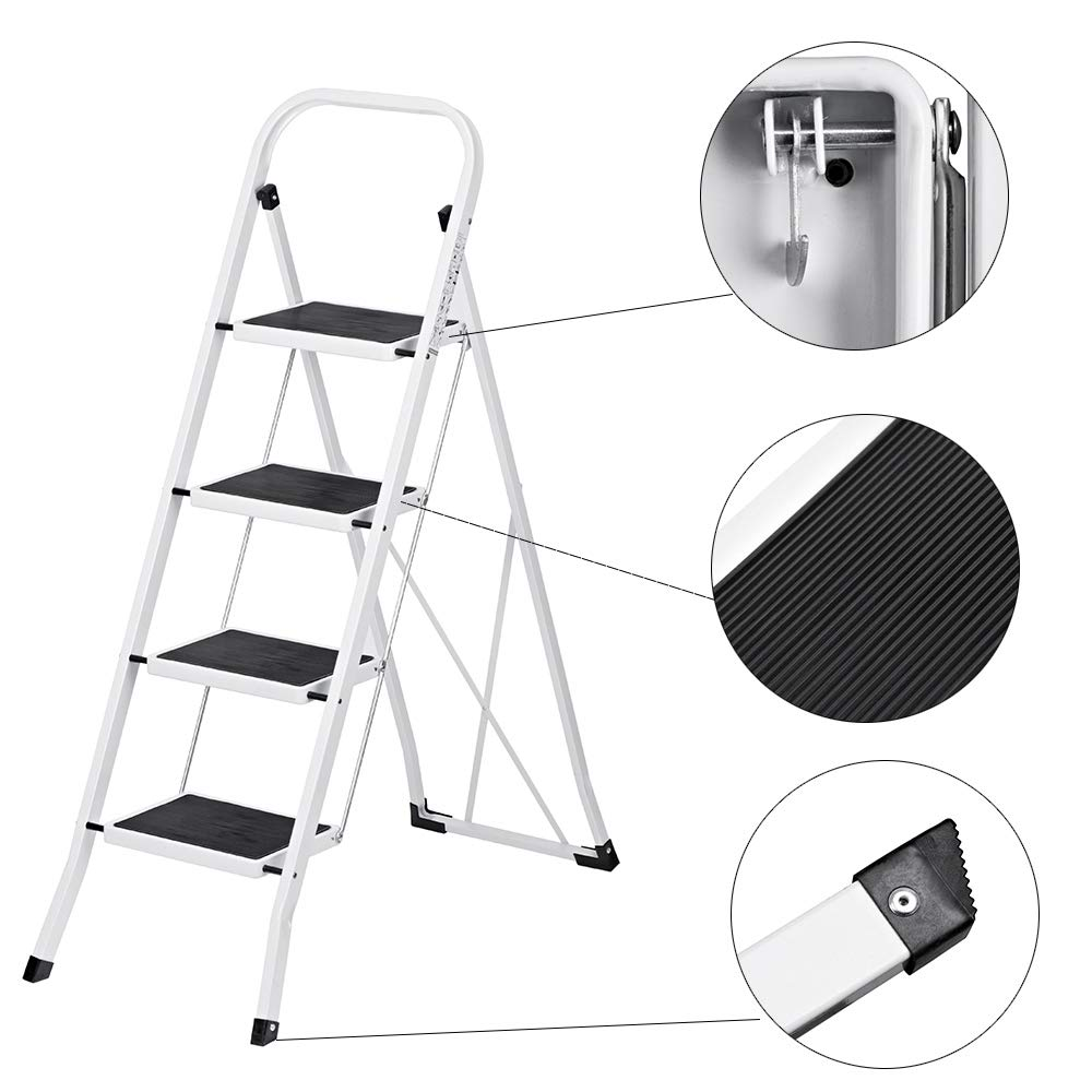 Amazon.com: Escalera plegable Delxo de 4 escalones con ...