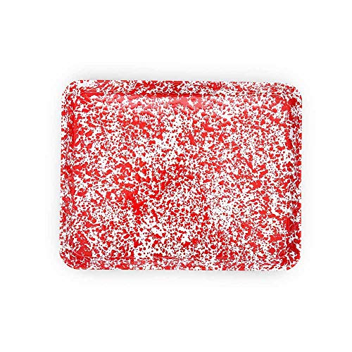 Enamelware Jelly Roll Pan, 16 x 12.25 inches, Red/White Splatter