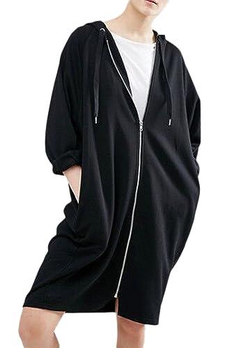 La Mujer De Manga Larga Con Cremallera, Capucha Con Cordon Bolsillo Cardigans Suéter Chaqueta