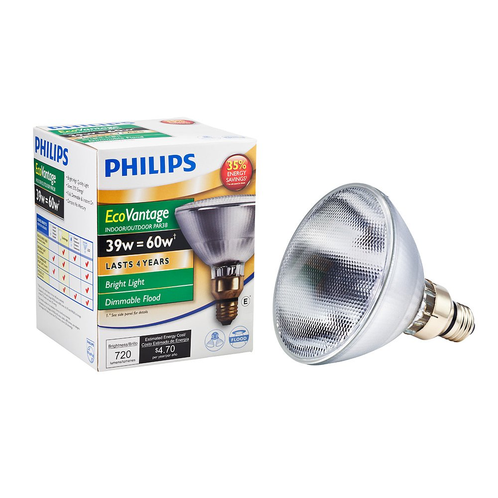 Philips 419424 Halogen PAR38 45 Watt Equivalent Flood Dimmable Standard Base Light Bulb