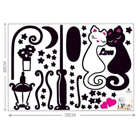Flushzing Arte del Gato Estrella de la Luna luz de la Pared ...