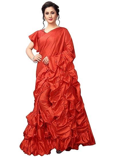2726103df7 Vastrang Sarees Art Silk Saree (Vs7018Rd_Red_): Amazon.in: Clothing &  Accessories