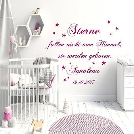STERNE FALLEN HIMMEL DATUM WUNSCHNAME Wandtattoo Kinderzimmer Schlafzimmer