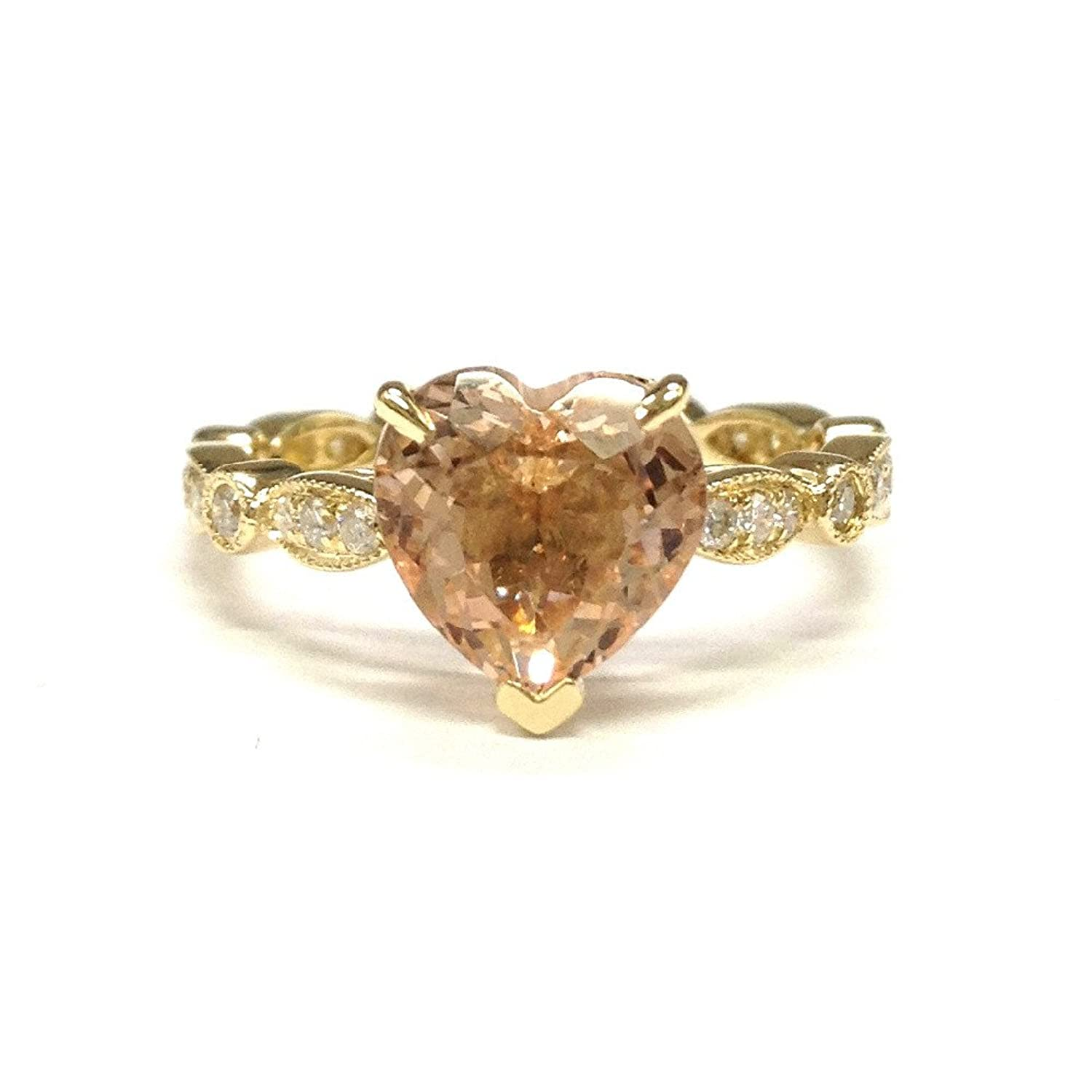 Heart Shaped Morganite Engagement Ring Pave Diamond Wedding 14K Rose gold Gold,8mm Art Deco Antique