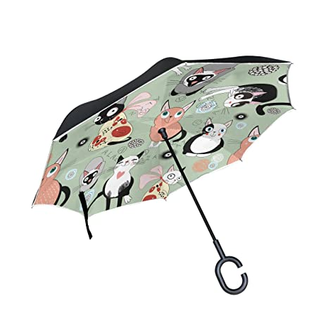 Mnsruu - Paraguas invertido de Doble Capa con diseño de Gatos de Dibujos Animados, protección