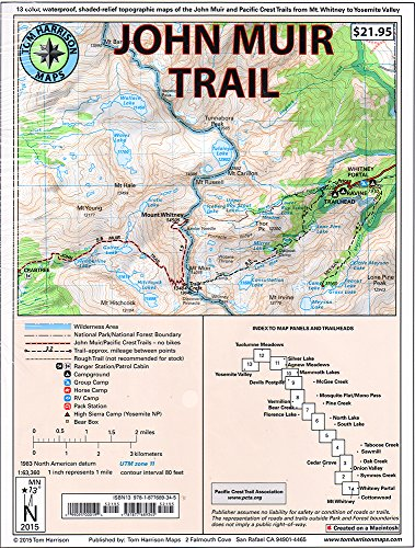 - John Muir Trail Map-Pack: Shaded Relief Topo Maps (Tom Harrison Maps)
