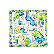 Aqueena Women's Luxurious 100% Silk Fashion Square Scarf with Butterfly Printing.