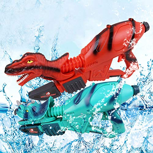 Ancaixin Dinosaur Water Gun Herrera & Triceratops Super Soaker Gun Set Summer Beach Pool Toys Big Squirt Blaster for Kids & Adults Red & Blue 2 Packs by Ancaixin (Image #1)
