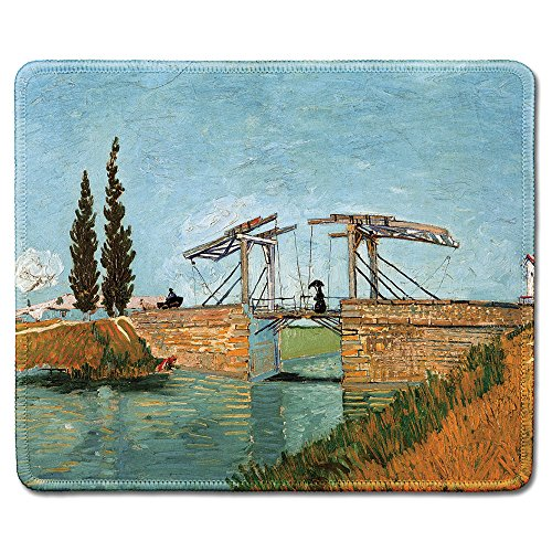 dealzEpic - Art Mousepad - Natural Rubber Mouse Pad with Famous Fine Art Painting of Langlois Bridge at Arles by Vincent Van Gogh - Stitched Edges - 9.5x7.9 inches