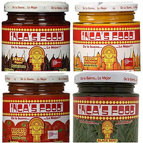 - Inca's Food Mixed Sampler - Aji Amarillo, Aji Panca, Huacatay, and Aji Rocoto - (4) 7.5 Oz Jars