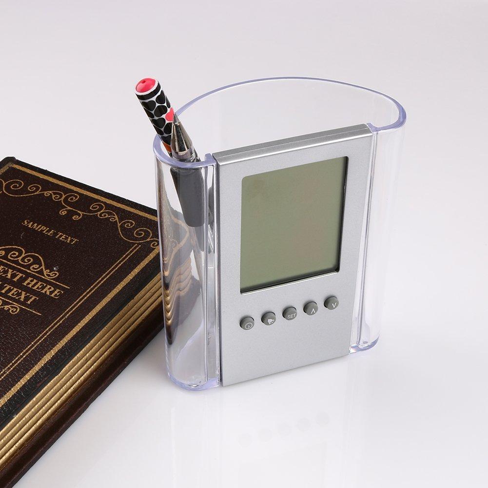 Everpert - Reloj despertador de escritorio con luz LED transparente con temperatura para oficina, familia, pequeños regalos: Amazon.es: Oficina y papelería