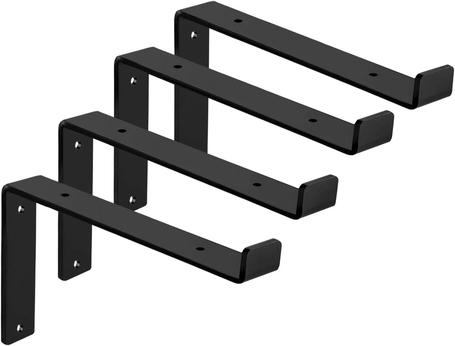 "4Pcs Heavy-Duty Shelf Brackets Supports 1//4/"" Thick For DIY Open Shelving"