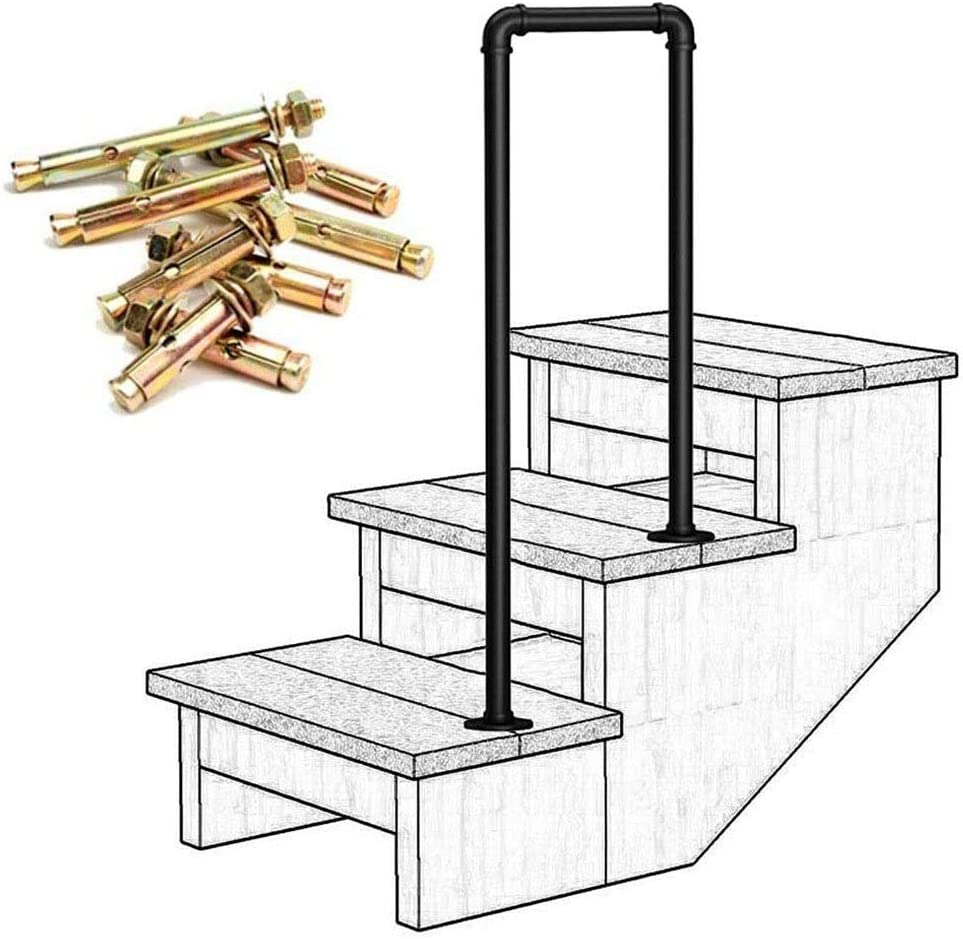 Lanna Shop Handrails for Outdoor Steps, Matte Black Wrought Iron, Stair Railing for Indoor Stairs Exterior Support Bar, 2 Step (Size : 95cm/3.1ft)