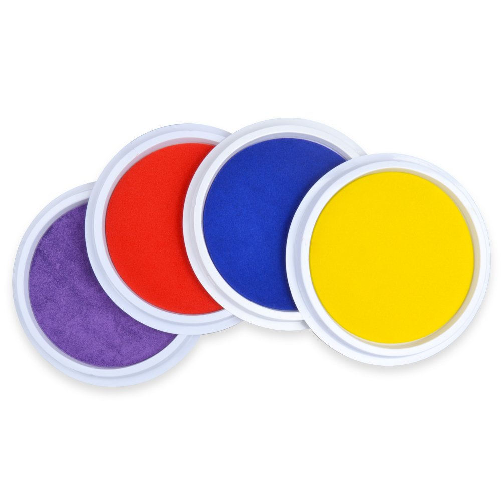 GooMart 4 Colors Washable Large Ink pads for Rubber Stamps Kids (Red, Yellow, Blue, Purple)
