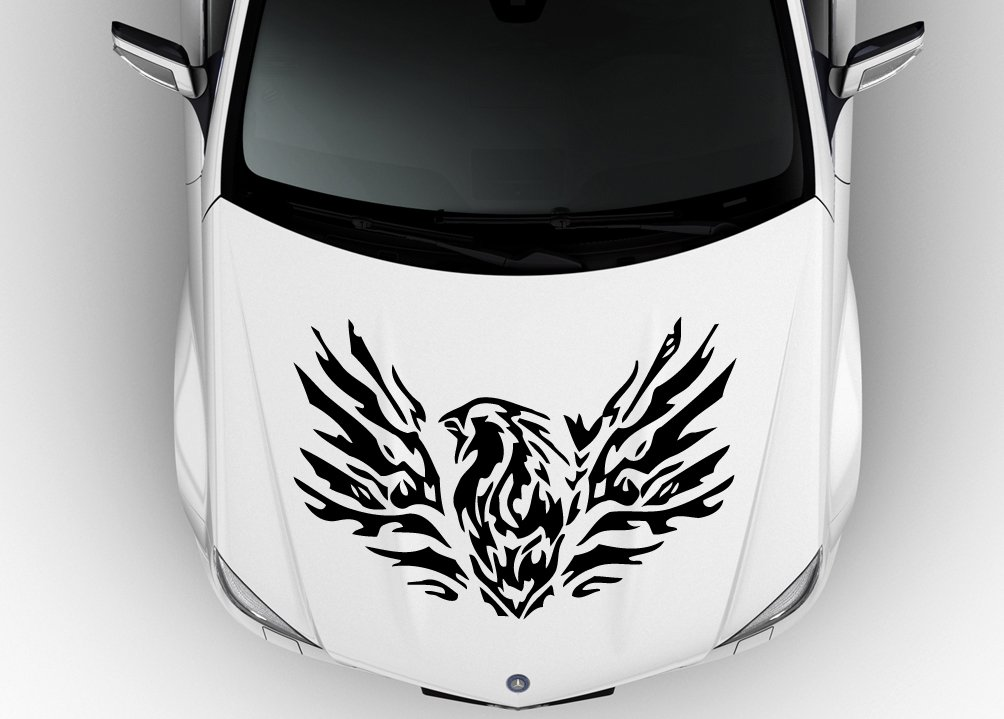 Amazon com car hood vinyl sticker decal flaming phoenix bird n583 home kitchen
