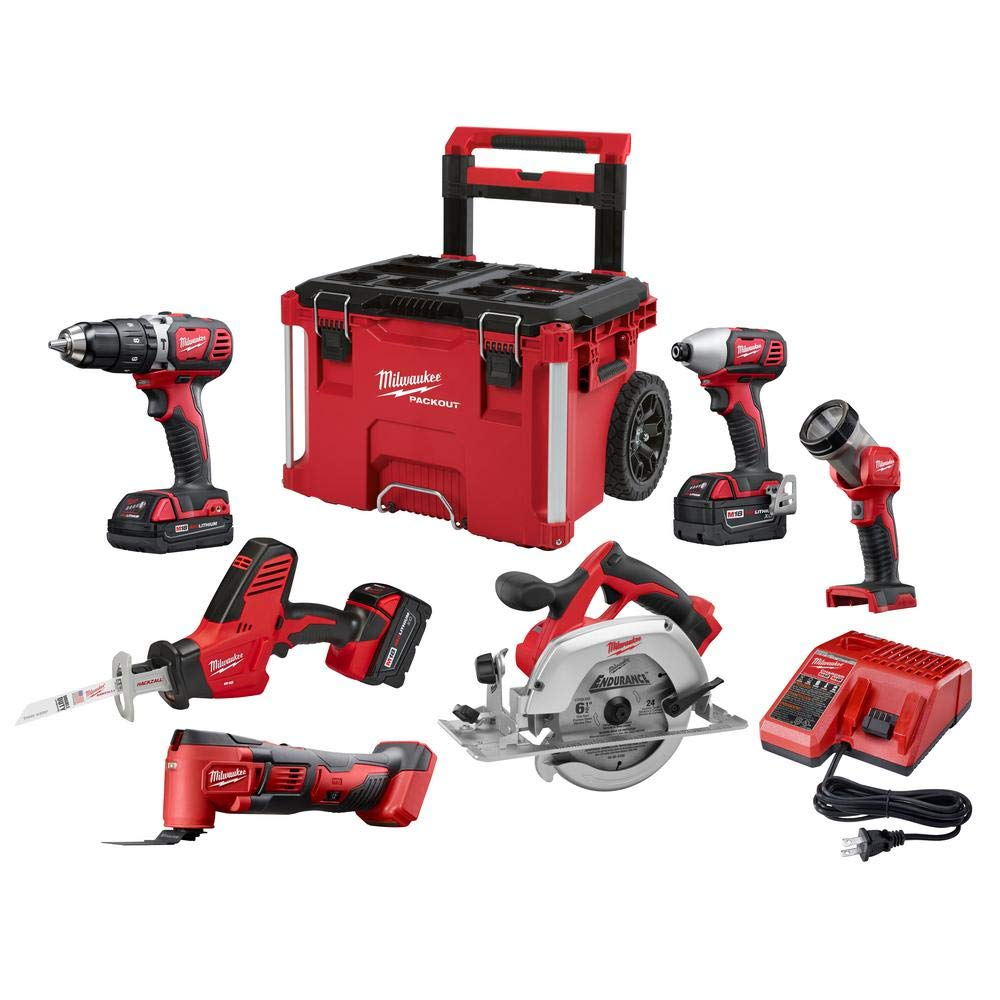 Milwaukee 2697-26PO M18 6-Piece Combo Kit with Packout Rolling Tool Box