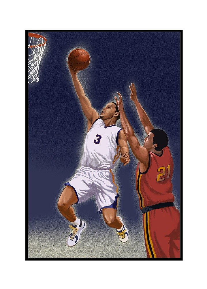 Basketball Player (16x24 Framed Gallery Wrapped Stretched Canvas)