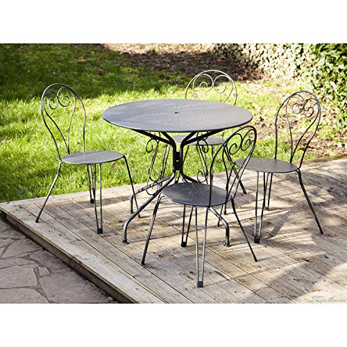 Table de Jardin en Acier Ronde Romantique diamètre 95cm ...