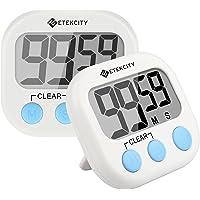 Etekcity Temporizador Digital de Cocina: Grande visualización LCD 2unidades, pila incluida (Blanco)