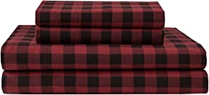 Elite Home Products Deep-Pocketed Winter Nights 100% Cotton Flannel Sheet Set, Queen, Buffalo Plaid/Red
