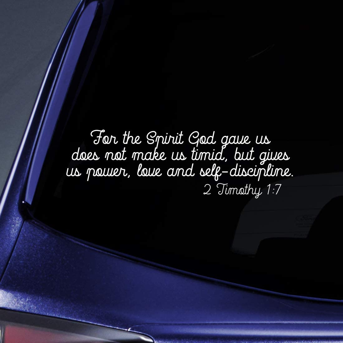 """Bargain Max Decals 2 Timothy 1:7 Verse Sticker Decal Notebook Car Laptop 8"""" (White)"""