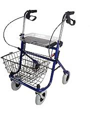 Mobiclinic Andador Ancianos 4 Ruedas | con Asiento | Incluye Cesta y Bandeja | Regulable en Altura | Plegable | para Adultos | Aluminio | Modelo Victoria