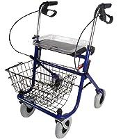 Mobiclinic Andador Ancianos 4 Ruedas | con Asiento | Incluye Cesta y Bandeja | Regulable en