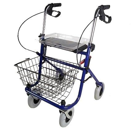 Mobiclinic Andador para Ancianos de 4 Ruedas | Rollator Plegable Deluxe | Amplio Asiento| Incluye