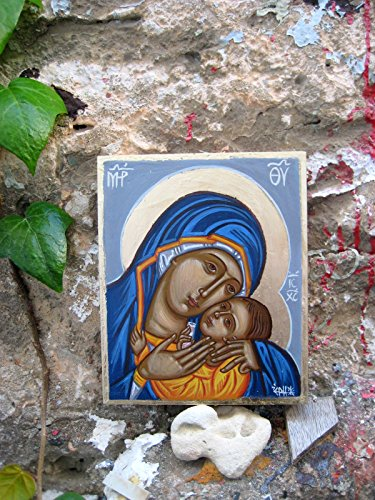 Holy mother and child in blue Virgin of tenderness Theotokos Mary and Christ Contemporary icon Mothers day gift by Angelicon