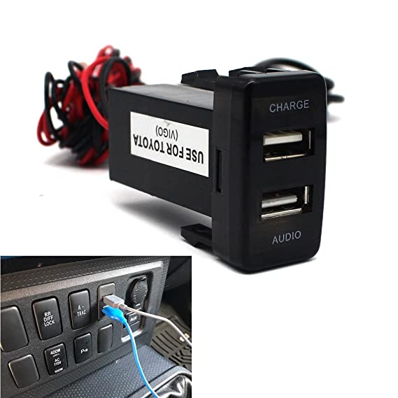USB Socket Port with Audio Socket for Toyota Vigo Series - MOTONG Car USB  Adapter for iPhone X/8/7/6/5, iPad, Samsung,LG,Huawei and More (USB