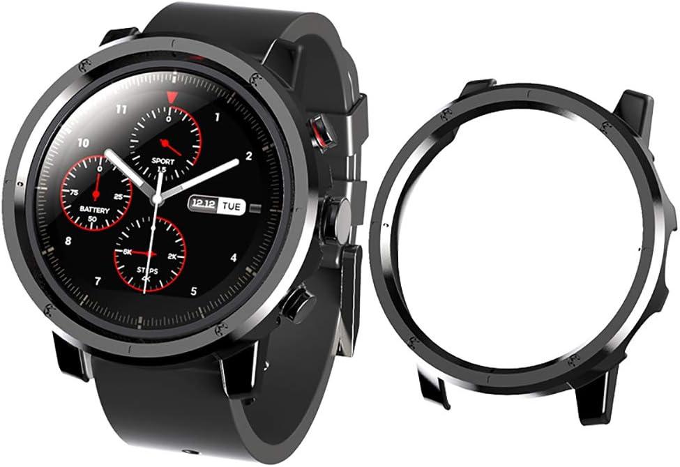 Sikai Marco Caso Cubierta Proteger Shell Compatible con Huami Amazfit Stratos 2 Sport Smartwatch Mode Lightweight Protector Case Funda per Amazfit Stratos Reloj Bumper Cover (Negro A)