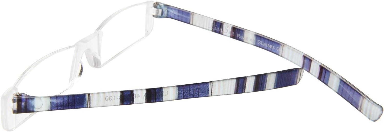 +3.50, Blue Liansan Brand Lightweight Portable Striped Unisex Reading Glasses Men Womens Readers Glasses L3220