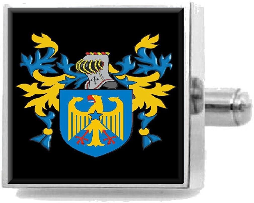 Select Gifts Grabham England Family Crest Surname Coat Of Arms Cufflinks Personalised Case