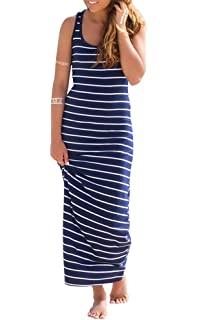 72cfbab12a Women s Casual Maxi Dresses Sleeveless Striped Solid Cotton A-Line Maxi  Long Dress Summer