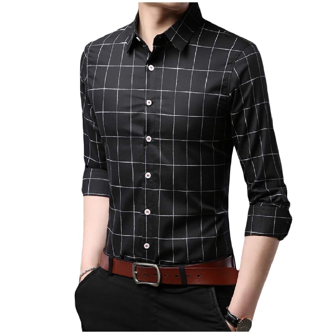 Mirrliy Mens Button Skinny Plaid Long Sleeve Oversized Lapel T-Shirts Shirt