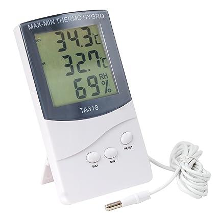Digiflex Termómetro Digital para Interior y Exterior con 2 Sensores de Alarma para Tiempo y Temperatura