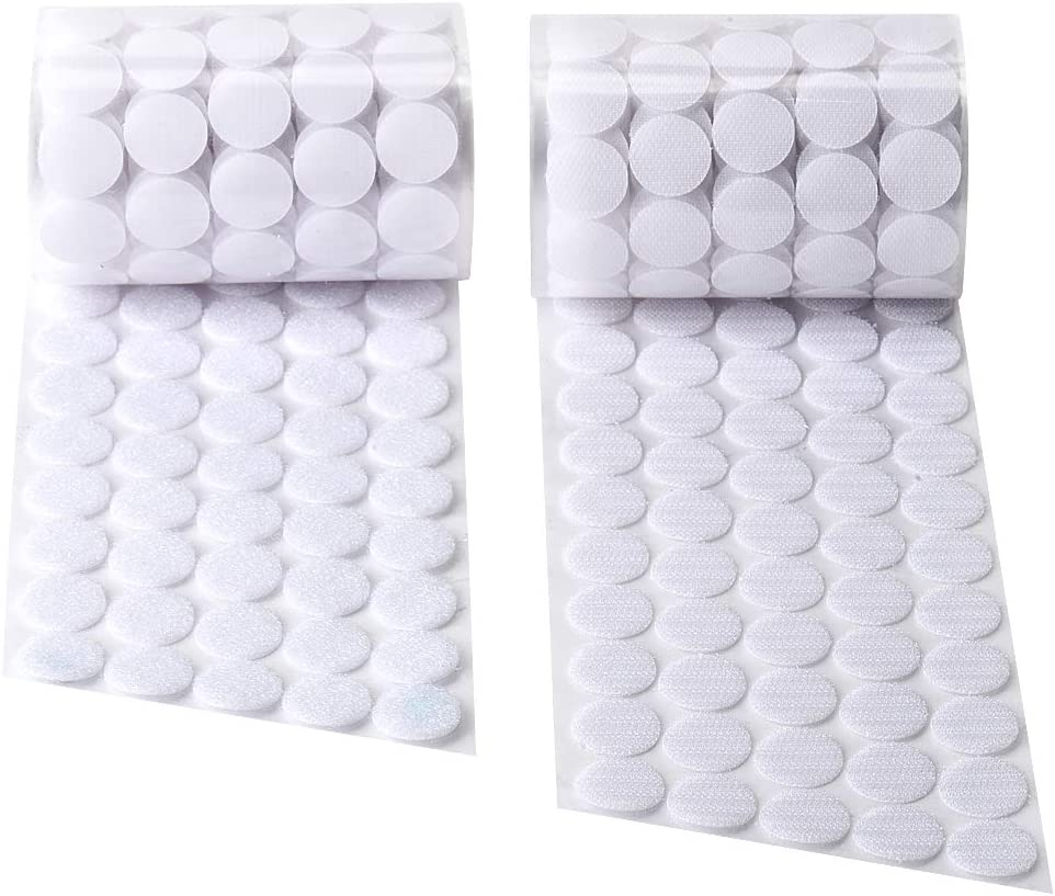 250 Pair Sets 1 Inch Diameter Hook and Loop Self Adhesive Dots Tapes Sticky Back Dot Sunmns 500 Pieces