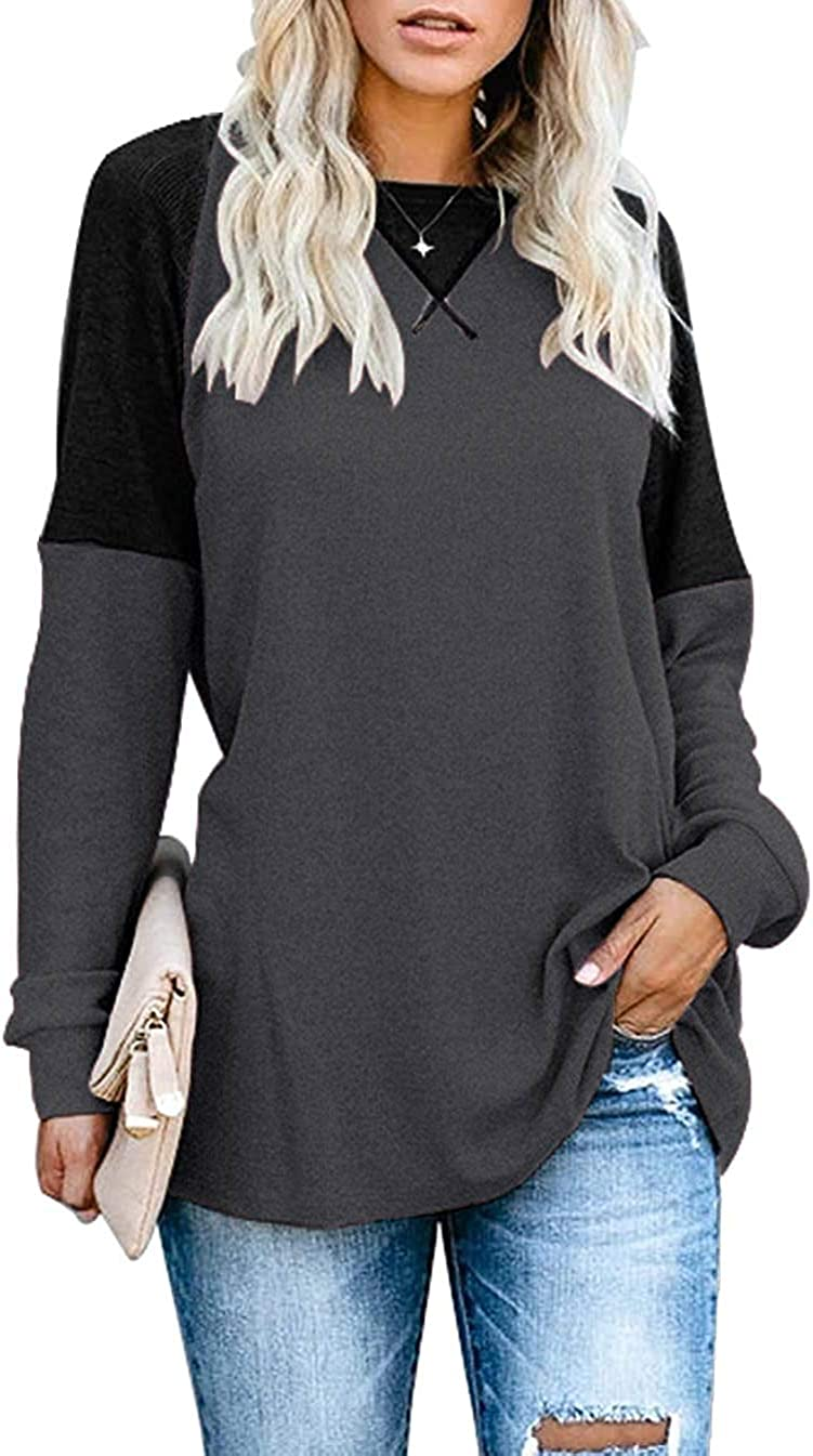 Women's Casual Long Sleeve Tunic Tops Crew Neck Loose Fit Color Block Shirts Blouses