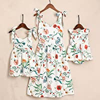 PopReal Mommy and Me Floral Printed Shoulder-Straps Bowknot Halter Chiffon Beach Mini Sundress