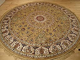 Persian Silk Gold Round Rug 6x6 Circle Shape Rugs Floor Carpet Living Room Round Silk Area Rugs Entrance Round Shape Rug (Round Shape 6 Foot)