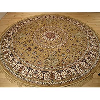 Persian silk gold round rug 6x6 circle shape - Gold rug for living room ...